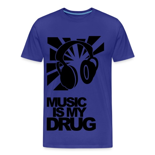 Sky blue + Black 'Music is my drug ' - Men's Premium T-Shirt