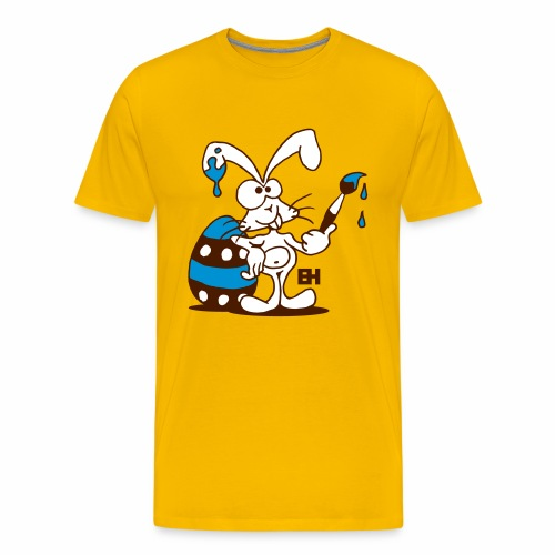 The Easter Bunny is painting an Easter egg - Men's Premium T-Shirt