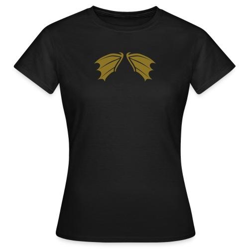 Damen Shirt Fledermaus Vampir Flügel gold matt Tiershirt Shirt Tiermotiv - Frauen T-Shirt