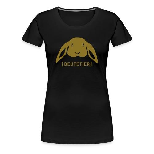 Damen Shirt Hase Beutetier Häschen Kaninchen gold Tiershirt Shirt Tiermotiv - Frauen Premium T-Shirt