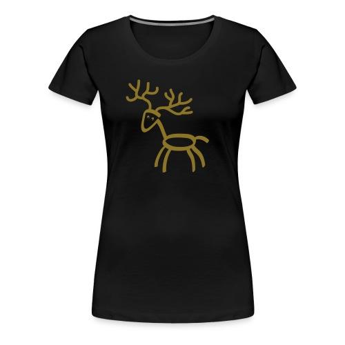 Damen Shirt Hirsch Elch Geweih gold matt Tiershirt Shirt Tiermotiv - Frauen Premium T-Shirt