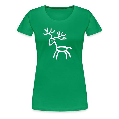 Damen Shirt Hirsch Elch Geweih weiss Tiershirt Shirt Tiermotiv - Frauen Premium T-Shirt
