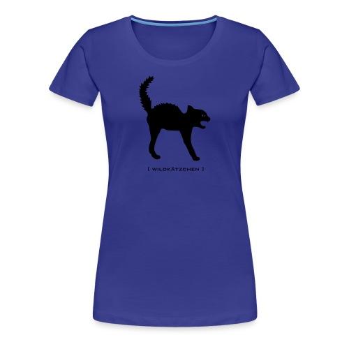 Damen Shirt Katze Wildkätzchen schwarz Tiershirt Shirt Tiermotiv - Frauen Premium T-Shirt