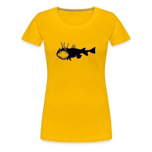 Frauen Girlie Shirt Fisch Raubfisch Seeteufel schwarz Tiershirt Shirt Tiermotiv - Frauen Premium T-Shirt