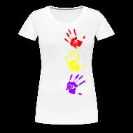 Camisetas ~ Camiseta premium mujer ~ Manos tricolor