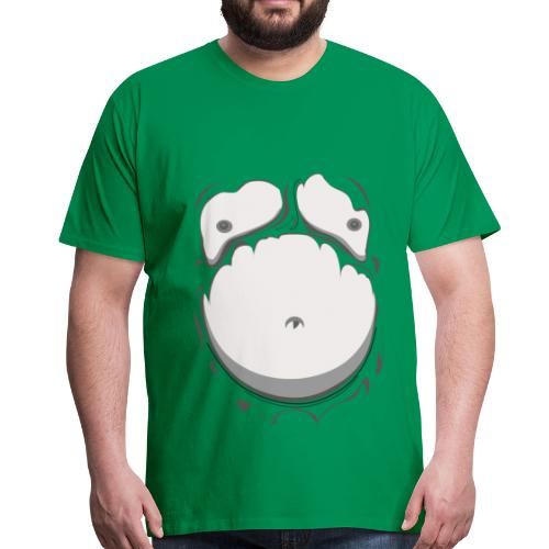 Comic Fat Belly Monotone, beer gut, beer belly, chest t-shirt - Men's Premium T-Shirt