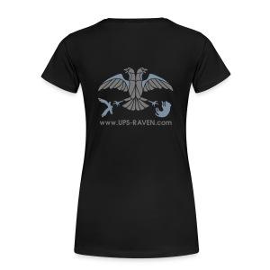 [UPS] Frauen Girlieshirt, schwarz, Aufdruck in Grau/Silber-Matt,  PSN-ID vorne - Frauen Premium T-Shirt