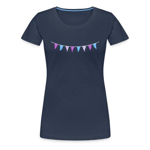A Little Bit Larger Navy Bunting T-shirt - Women's Premium T-Shirt