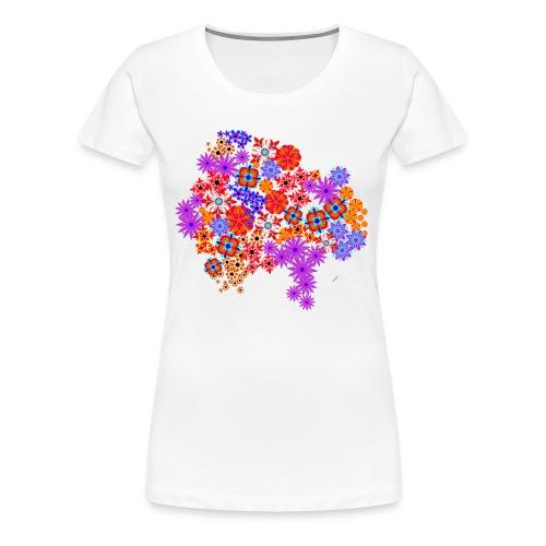 Camiseta Entallada Chica Blanca Estampado de Flores - Camiseta premium mujer