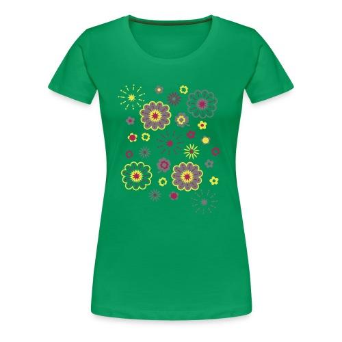Camiseta Entallada Chica Verde Hierba Estampado de Flores - Camiseta premium mujer