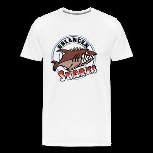 Logo auf weißem Übergrößen-T-Shirt (m) - Männer Premium T-Shirt