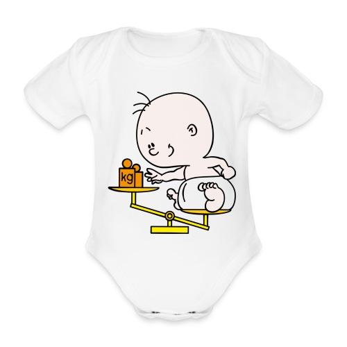 Weegschaal - Baby bio-rompertje met korte mouwen