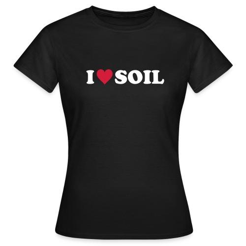 T-Shirt I love Soil, rot-weiß, front - Frauen T-Shirt