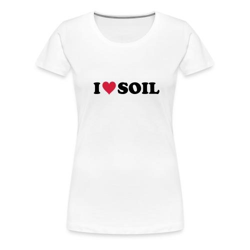 T-Shirt I love Soil, rot-schwarz, front - Frauen Premium T-Shirt