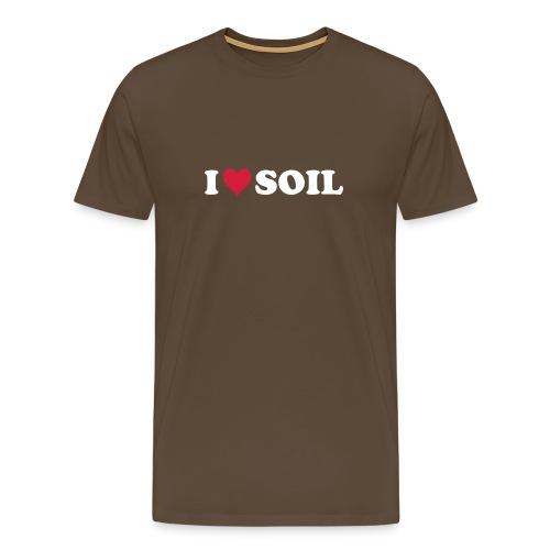 T-Shirt I love Soil, rot-weiß, front - Männer Premium T-Shirt