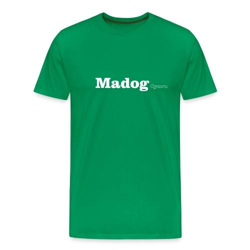 Madog Cymru white text - Men's Premium T-Shirt