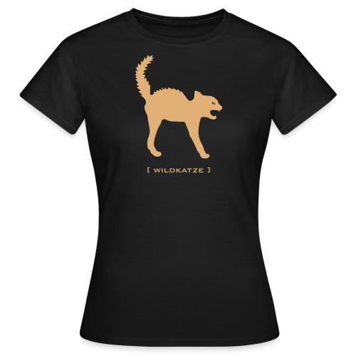 Damen Shirt Katze Wildkatze sand FLOCK DRUCK Tiershirt Shirt Tiermotiv - Frauen T-Shirt