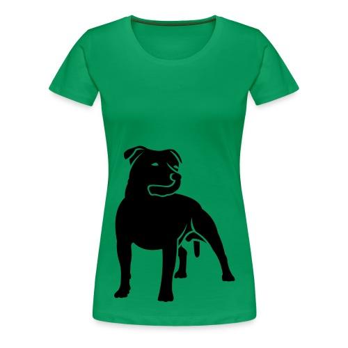 Staffie Silhouette Womens Tee - Women's Premium T-Shirt