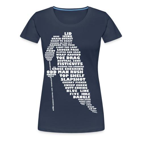 Hockey Player Typography Women's Premium T-shirt (white print) - Women's Premium T-Shirt