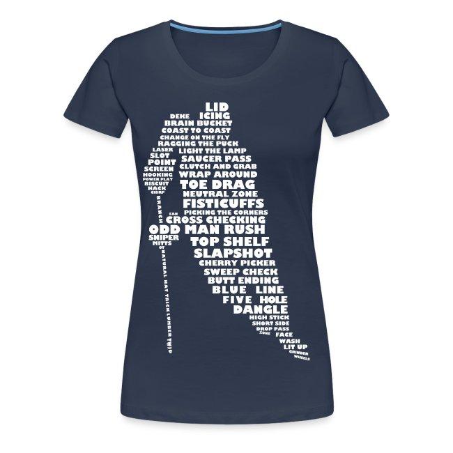 Hockey Player Typography Women's Premium T-shirt (white print)