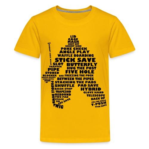 Ice Hockey Goalie Typography T-Shirt - Teenage Premium T-Shirt