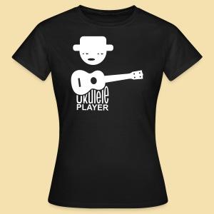 Girlieshirt: Ukulele Player (Motiv: beige /hinten) - Frauen T-Shirt