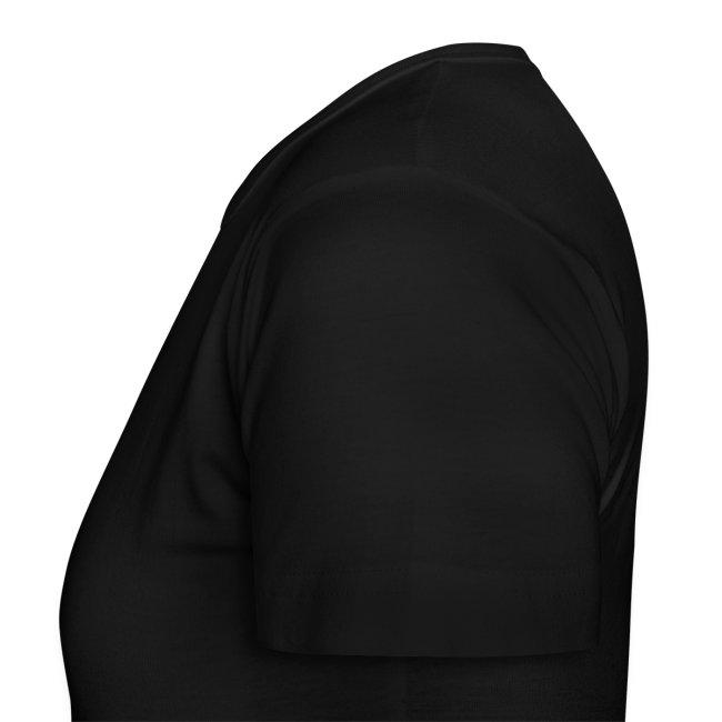 Dame T-skjorte med sort logo i flock-trykk