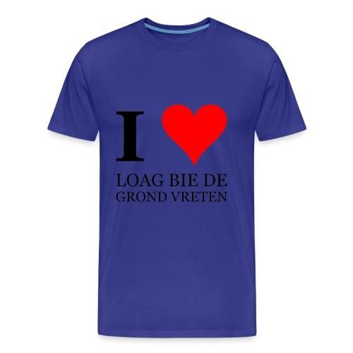 Gronings T-shirt I love loag bie de grond vreten / picknicken - Mannen Premium T-shirt