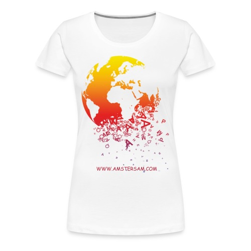 Women's Girlie Shirt 'The World' White/Red - Women's Premium T-Shirt