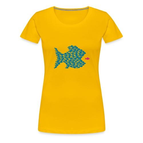 shirt t-shirt fisch fische schwarm angler angeln demokratie fressen evolution beute räuber jagd jäger tier shirt t-shirt tiere - Frauen Premium T-Shirt