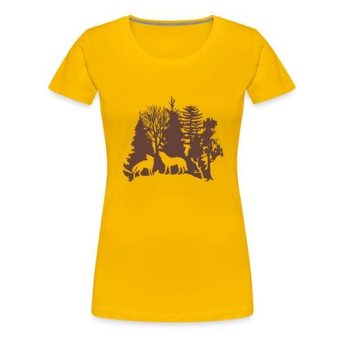 shirt t-shirt wolf rudel raubtier alphatier wald natur bäume jagd jäger - Frauen Premium T-Shirt