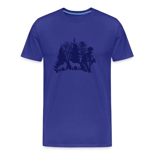 shirt t-shirt wolf rudel raubtier alphatier wald natur bäume jagd jäger - Männer Premium T-Shirt