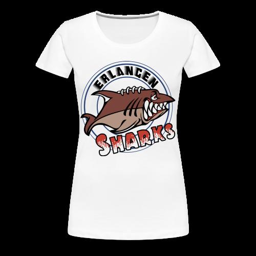 Erlangen Sharks Color Premium T-Shirt (w, weiß) - Frauen Premium T-Shirt