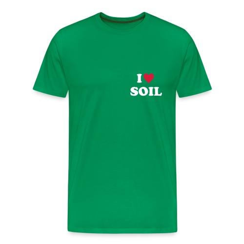 T-Shirt I love Soil, rot-weiß, brust - Männer Premium T-Shirt
