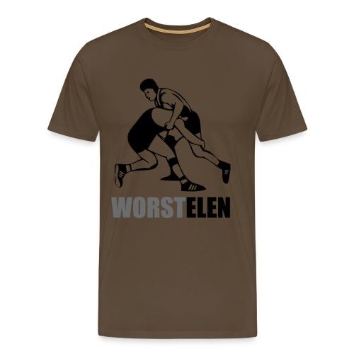 Worstel T-shirt, nu mét worst! - Mannen Premium T-shirt