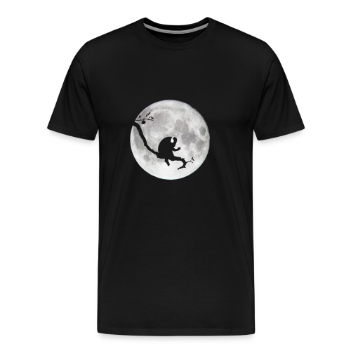 Ape on a Branch Chillin to some Tunes. Moon Silhouette. Indigo. - Men's Premium T-Shirt