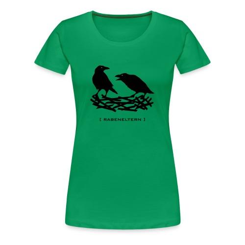 Shirt rabeneltern rabe raven vogel krähe feder nest flügel baby mutter vater tiershirt shirt tiermotiv - Frauen Premium T-Shirt