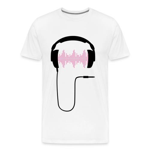 Miesten Valkoinen Headphones T-Paita - Miesten premium t-paita