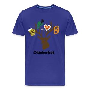 t-shirt oktoberfest wiesn hirsch edelweiss münchen bayern brezel hut lebkuchenherz bier bierkrug maß geweih T-Shirts - Männer Premium T-Shirt