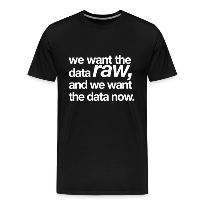 """men's/ """"we want the data raw, and we want the data now"""""""