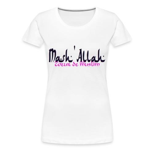 t-shirt femme grande taille Mash'Allah Coeur De Muslim blanc - T-shirt Premium Femme