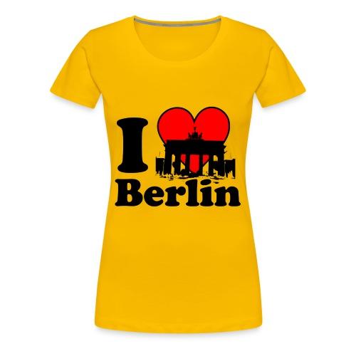 I Love Berlin Brandenburger Tor T-Shirt gelb - Frauen Premium T-Shirt