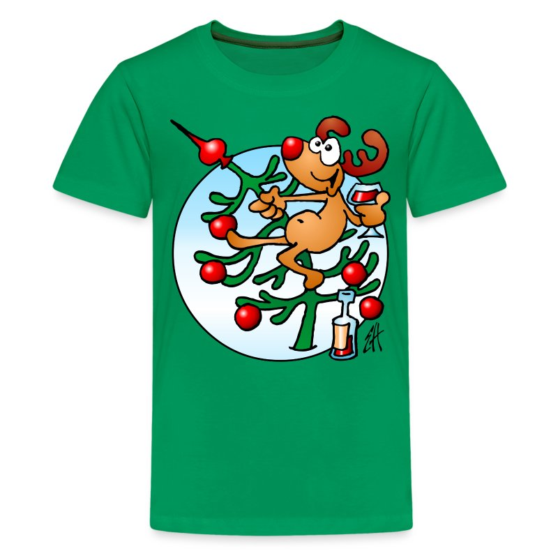 Een rendier in een Kerstboom - Merry Christmas - Teenager Premium T-shirt