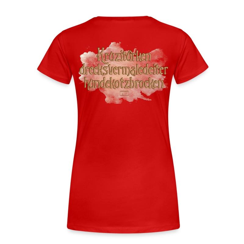 Frauen Premium T-Shirt - Druck in hellen Brauntönen, hinten, großflächig