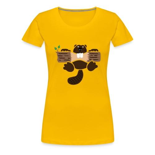 t-shirt biber bieber nager fleissig otter burg natur tier zähne - Frauen Premium T-Shirt