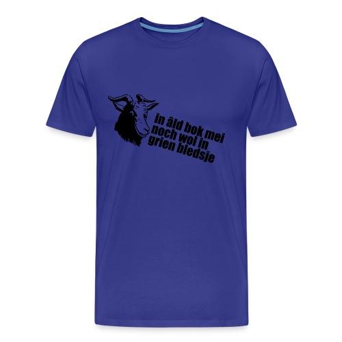 In âld bok mei noch wol in grien bledsje! - Mannen Premium T-shirt