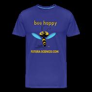 Tee shirts ~ Tee shirt Premium Homme ~ Bee happy homme bleu vert