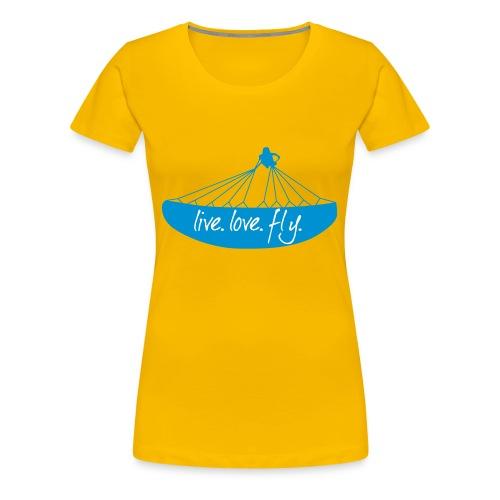 Frauen Premium T-Shirt - wing,wind,thermik,spiral,sky,sat,paragliding,paragleiten,helicopter,gleitschirmfliegen,freiheit,flügel,flying,fliegen,carinthian paragliders,acrobatic,acro,Winter,Paragliding,Paraglider,Gleitschirm,Free,Acrobatic