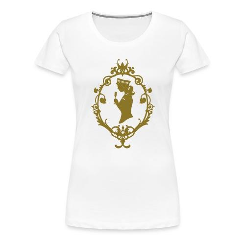 Girlie-Shirt Schleife Weiß-Gold - Frauen Premium T-Shirt