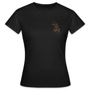 Frauen T-Shirt - Druck in braun, vorn, klein, Brusthöhe